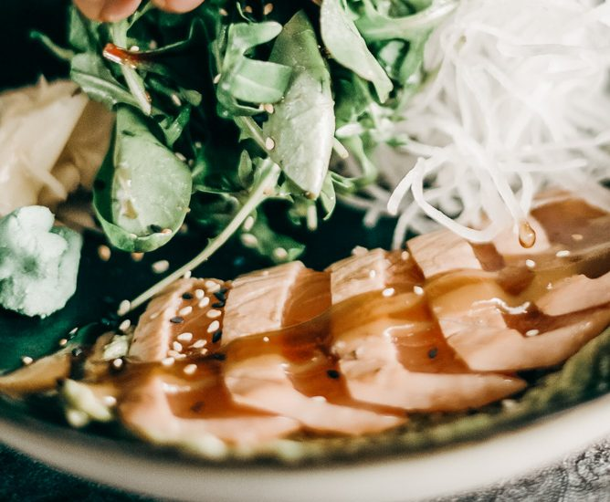 Cedar-Planked Grilled Salmon Filet Recipe with Honey-Lime Dressing