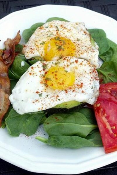 Make an Egg and Avocado Breakfast on a Bed of Spinach