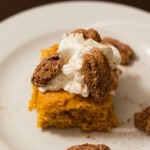 Homemade Pumpkin Bars with Candied Pecan Topping