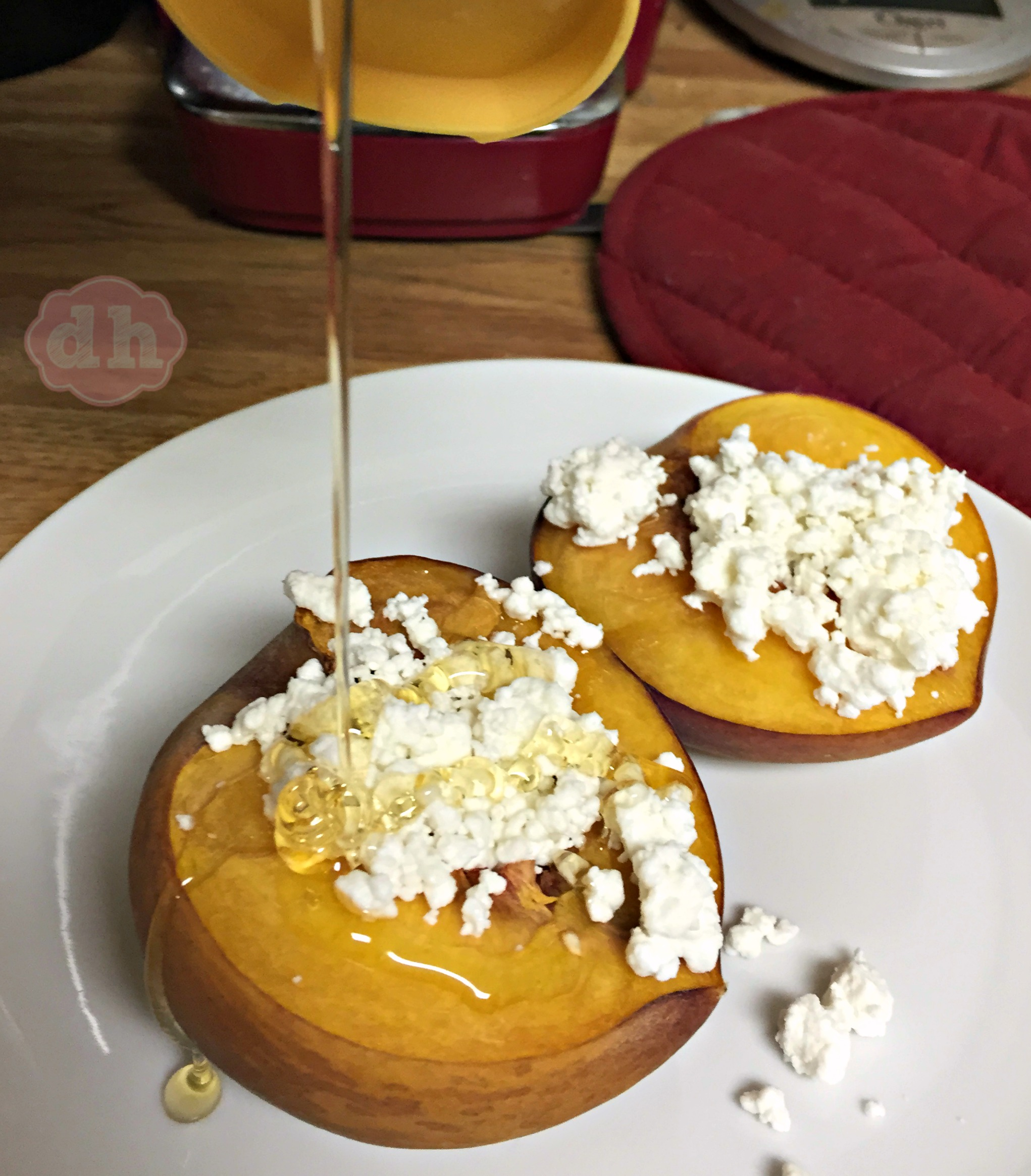 Honey Roasted Peaches with Goat Cheese