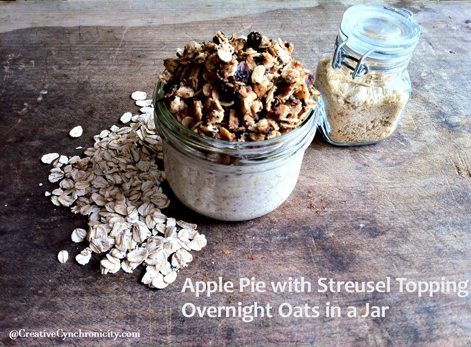 Apple Pie Overnight Oats in a Jar with Streusel Topping