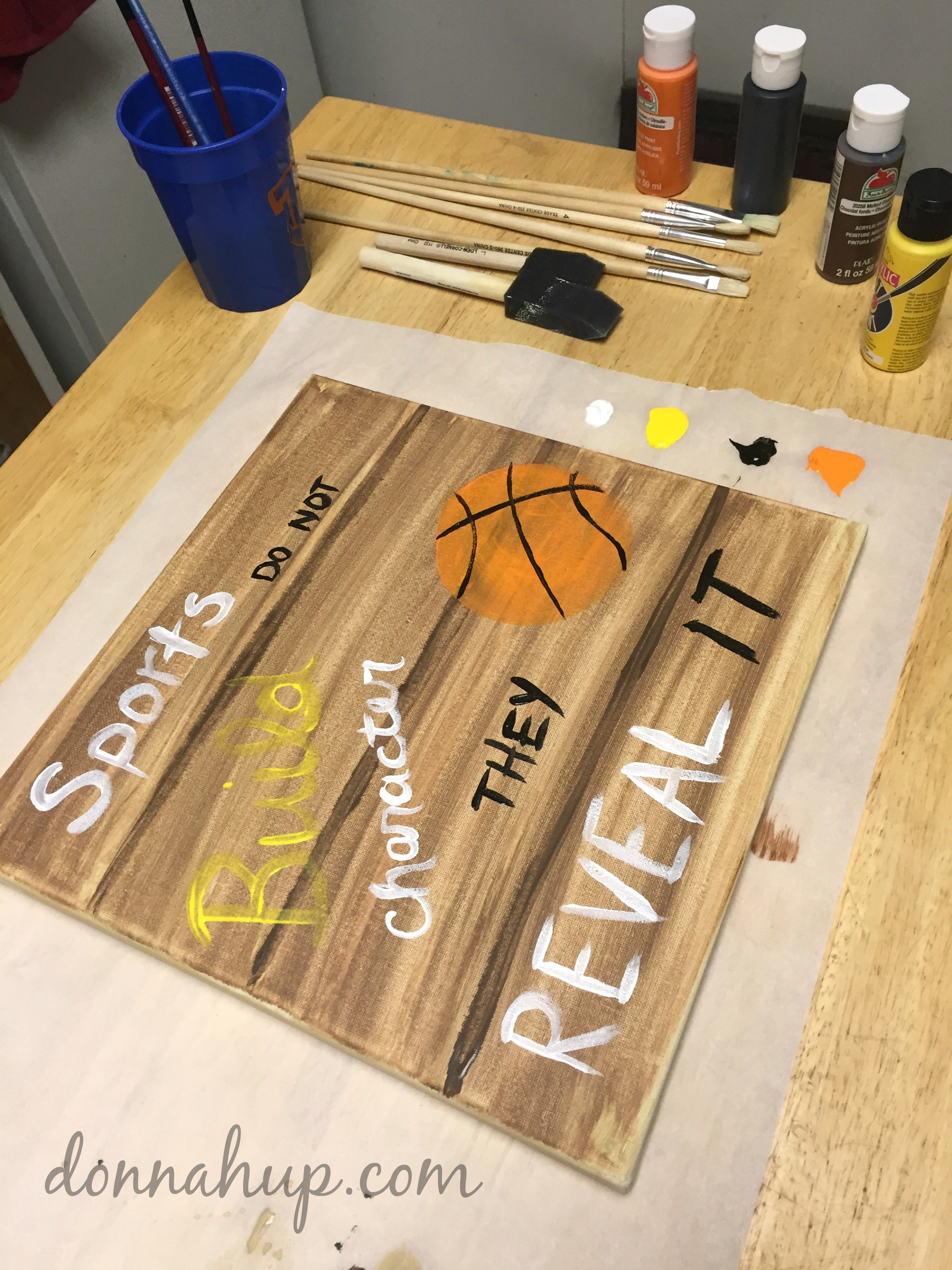 DIY Faux Wood Canvas Print #GameForBasketball #CollectiveBias #ad