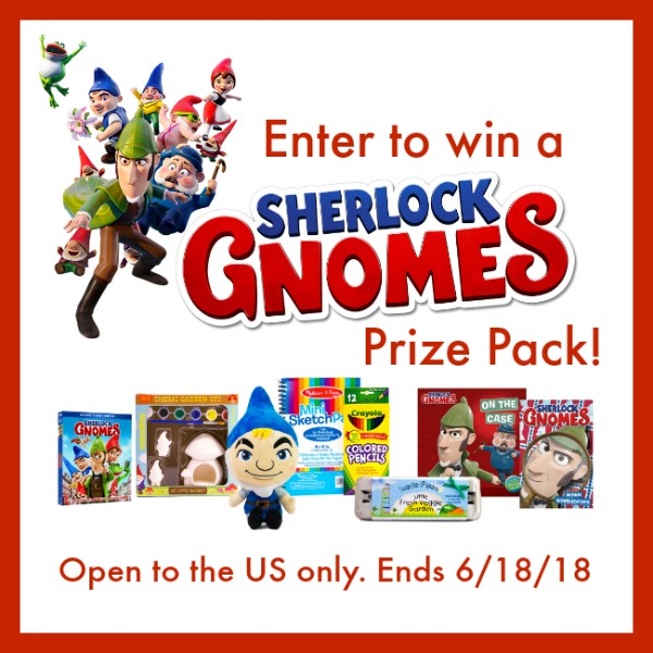 Enter the Sherlock Gnomes Prize Pack Giveaway . Ends 6/18