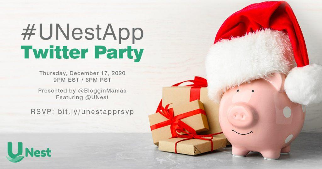 #UNestApp Twitter Party Thursday, December 17 9pm EST/6pm PST